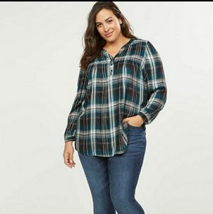 EUC Lane Bryant Plaid Shimmer Tunic